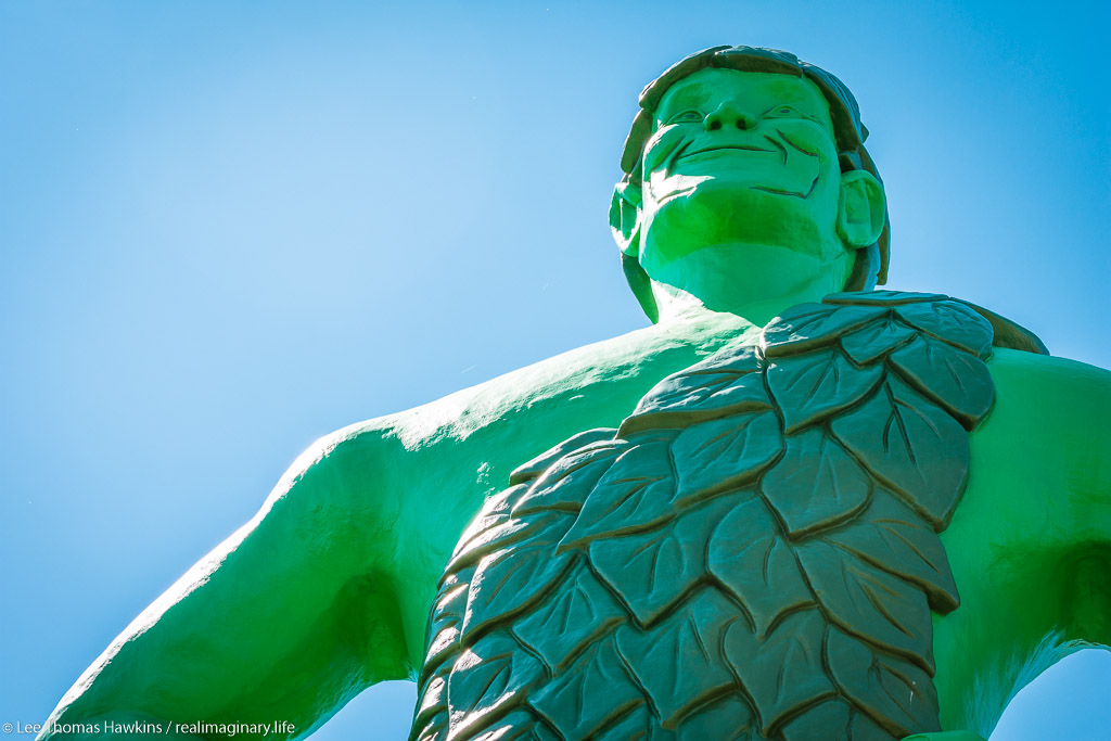 "A 60-foot tall statue of the Jolly Green Giant was erected just off I-90 in 1978 to celebrate the Green Giant company's history in Blue Earth, Minnesota. The ""Giant Days"" festival is held at the nearby fairgrounds here each July."
