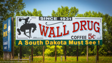 A billboard along I-90 near Luverne, Minnesota advertises 5¢ coffee at South Dakota's Wall Drug
