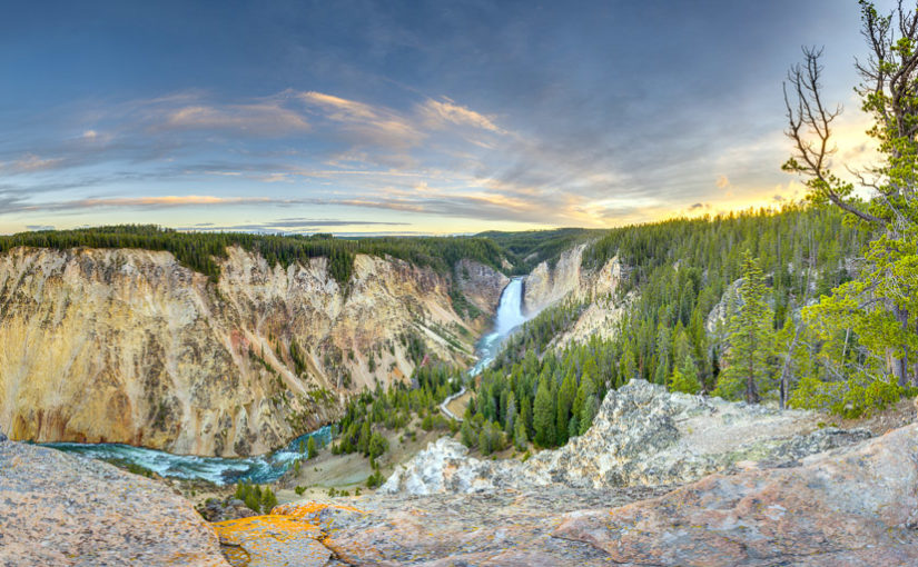 Brilliant colors of sunset over the Grand Canyon of the Yellowstone River and Yellowstone Falls