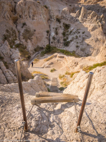 It's pretty easy getting up the ladder on the Notch Trail in Badlands National Park. Getting down looks a little more tricky...