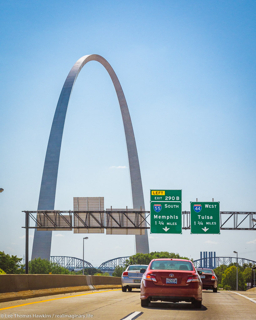 The Gateway Arch, part of the Jefferson National Expansion Memorial, towers prominently as we head into Downtown St. Louis on I-70.