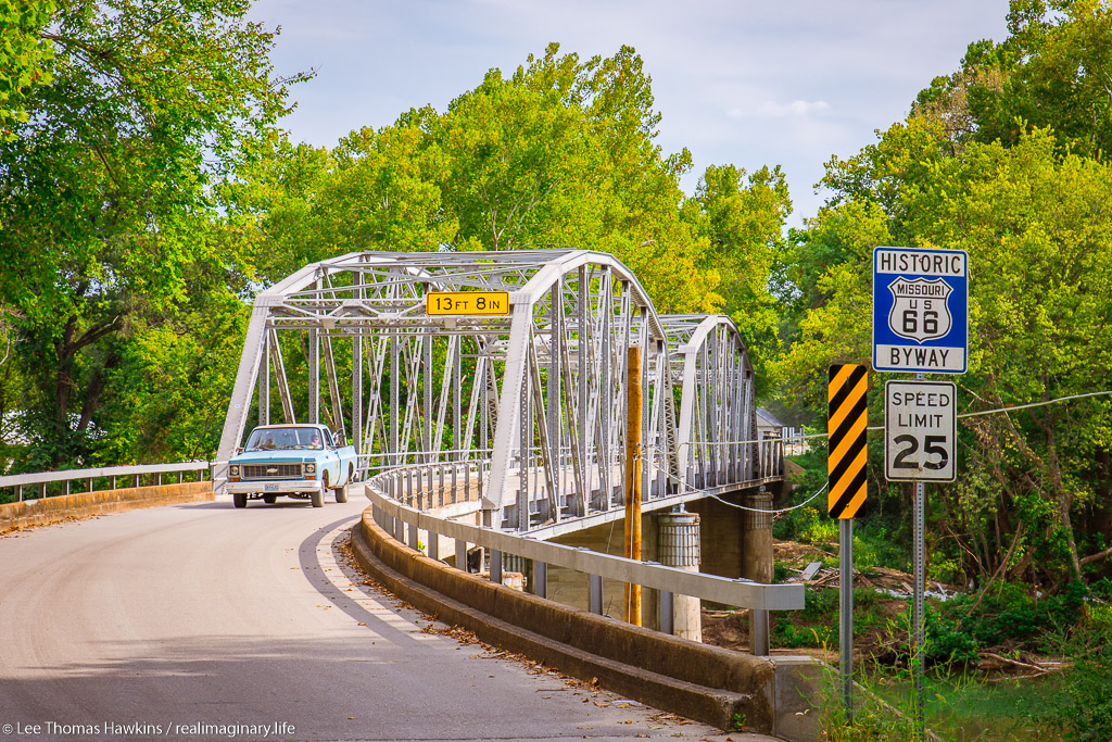 The Devils Elbow Bridge in Missouri carried traffic across the Big Piney River on Route 66's original alignment through the Ozarks.
